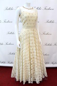 PalkhiFashion Exclusive Full Flair White Silk Hand Work Gown.
