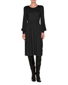 W0FM4 Agnona Knit Bell-Sleeve Merino Wool Dress, Black