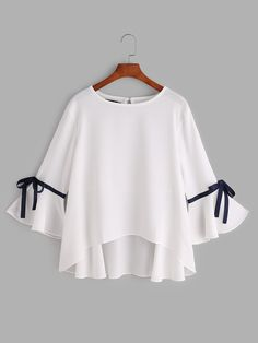 Store White Bell Sleeve Bow Tie Dip Hem Shirt on-line. SheIn presents White Bell Sleeve Bow Tie Dip Girls Fashion Clothes, Teen Fashion Outfits, Cute Fashion, Hijab Fashion, Girl Fashion, Casual Outfits, Fashion Dresses, Cute Outfits, Clothes For Women