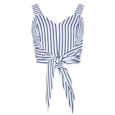JOA Stripe Tie Front Crop Top (895 ZAR) ❤ liked on Polyvore featuring tops, crop tops, shirts, crop, tie front shirt, white striped shirt, tie front top, crop shirts and polyester shirt