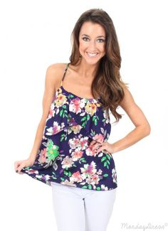 Add a pop of Spring to your wardrobe with this Island In The Sun Floral Print Tank Top from MondayDress.com!