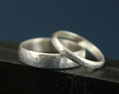 Hammered BandsMatching Sterling Silver Wedding Ring by debblazer