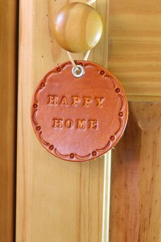 Happy Home Wall Hanging  Leather Bless This by TinasLeatherCrafts. Repin To Remember.