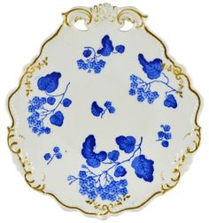 Blue & White English Pierced Shell Serving Dish by Grainger -1850s