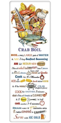 We treasure the recipe dish towel! Discover flour sack towels for every cook's decor and holidays. This one features an amazing recipe for the perfect crab boil. I was hacked, someone is an old crab. Seafood Boil Recipes, Seafood Seasoning, Seafood Dishes, Fish And Seafood, Fish Recipes, Seafood Broil, Crab Boil Seasoning Recipe, Crab Broil, Shrimp And Crab Boil