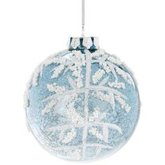 Glucksteinhome Beaded Glitter Snowflake Glass Ball Ornament ($14) ❤ liked on Polyvore featuring home, home decor, holiday decorations, silver, white christmas ornaments, round ornaments, beaded ornaments, glitter ornaments and white glass christmas ball ornaments