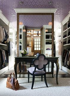 Oh my.  Gorg closet with huge mirror, dressing table, and quatrefoil chair.  I think this is a glimpse into my future!
