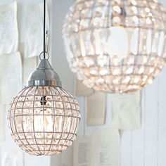 Ball Light, industrial pendant with crystal glass