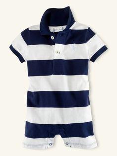 Striped Polo Shortall - Layette One-Pieces - RalphLauren.com