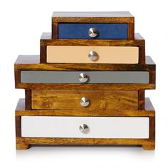 This is lovely and would sit perfectly on my chest of drawers - Five Drawer Wooden Jewellery Box Wooden Jewelry Boxes, Jewellery Boxes, Jewellery Storage, Wooden Boxes, Oliver Bonas Jewellery, Interior Design Living Room, Interior Decorating, Decorating Ideas, Decor Ideas