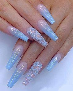 24 Fabulous Mismatched Blue Nail Art Design Part 17 Coffin Nails Matte, Best Acrylic Nails, Acrylic Gel, Acrylic Summer Nails Coffin, Purple Nail, Blue Nails, My Nails, Glitter Nails, Cute Acrylic Nail Designs