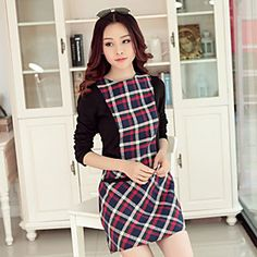 Women's Slim Check Splice Long Sleeves Dress