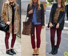 Look do Dia = Calça Bordô + Onça (no Casaco, na Blusa ou nos Acessórios)