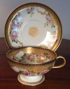 Gorgeous Haviland Tea Cup & Saucer, RARE, Gold, Cobalt, Pink Floral Hard To Find | #1806323180
