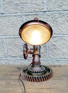 Table Lamp, Steampunk Lamp, Edison Light, loft, loft light, Vintage Light, Pipe Lamp, Bedside Lamp, Lamp diy, desk lamp, industrial Lamp