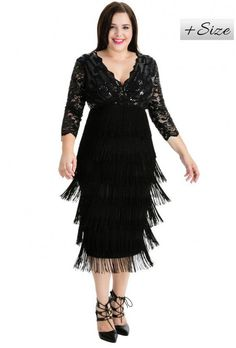 Pin for Later: Be the Belle of the Ball in These Plus-Size Party Dresses Goddiva Plus Size Flapper Midi Dress Goddiva Plus Size Flapper Midi Dress (£75)
