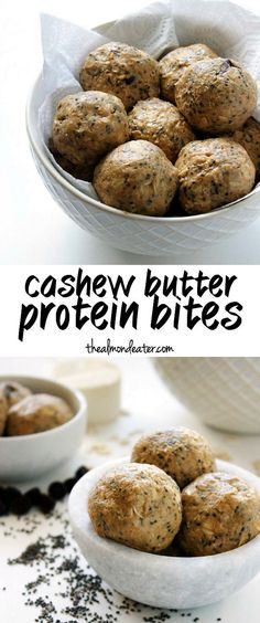 Cashew butter, oats and chia seeds combine to form these slightly sweet, portable and protein-packed bites. Just 5 ingredients and 10 minutes! #protein