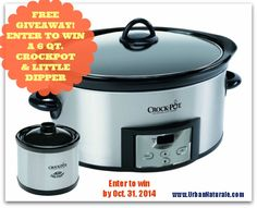 Free Giveway: Enter to Win a Crock-Pot® 6-quart Slow Cooker w/ 16 oz Little Dipper and Cookbook