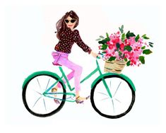 Art Print Wall Art: Bike Girl bicycle art print by AThingCreated Pink Wall Art, Pink Art, Wall Art Prints, Bicycle Art, Bike, Custom Stationery, Personalized Stationery, Cute Art, Original Paintings