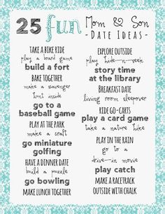 Mom and Son Date Ideas - Printable As a Mom of two boys I am constantly looking for fun mom and son date ideas.