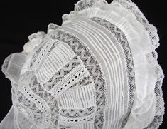 Maria Niforos - Fine Antique Lace, Linens & Textiles : Antique Christening Gowns & Children's Items # CI-108 Circa 1900 Christening Bonnet w/ Valencienne Lace & Pintucking