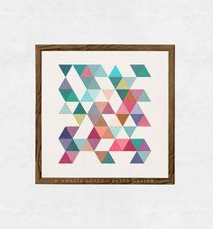 Driehoeken 1. Geometrische kunst kunst aan de muur door LatteDesign