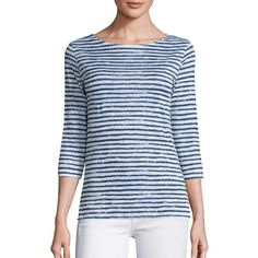 Majestic Filatures Striped Linen Tee ($144) ❤ liked on Polyvore featuring tops, t-shirts, private brand - sfa knitwear, striped tee, 3/4 length sleeve t shirts, blue t shirt, 3/4 sleeve t shirts and stripe tee