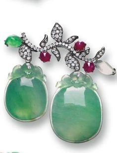Jadeite, ruby, & diamond brooch