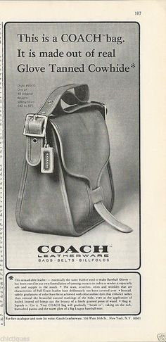 1975 Coach Bag Purse Photo Tanned Cowhide Same as Baseball Mitt Vintage Print Ad | eBay