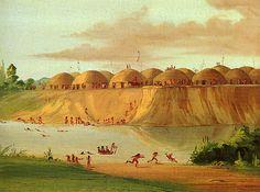 Hidatsa Indians | Bird's-eye view of the Mandan village. Notice the arrangement of earth ...