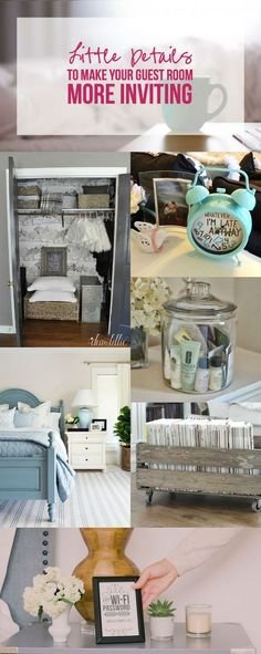 Little Details to Make Your Guest Room More Inviting - Happily Ever After, Etc. - Little Details to Make Your Guest Room More Inviting with Happily Ever After, Etc. Guest Room Decor, Guest Room Office, Home Bedroom, Bedroom Decor, Bedroom Ideas, Wall Decor, Guest Room Essentials, Apartment Essentials, Diy Home