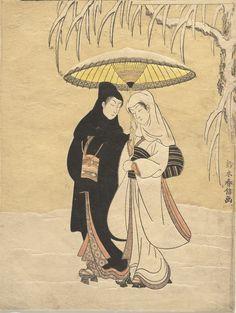 Title:雪中相合傘 Lovers Sharing an Umbrella Artist:鈴木春信 Suzuki Harunobu