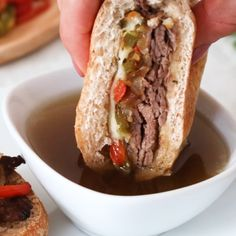 Use your Crock Pot to make these easy French Dip Sandwiches! Perfect for football Sunday!