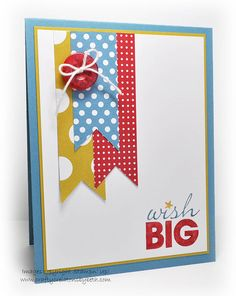 - Birthday Flags by mcalexab - Cards and Paper Crafts at Splitcoaststampers , Handmade Birthday Cards, Greeting Cards Handmade, Scrapbook Cards, Scrapbooking, Birthday Flags, 10 Birthday, Tarjetas Diy, Card Making Inspiration, Copics