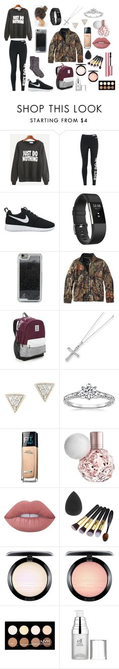 """""""IT FINALLY SNOWED HERE!!!!"""" by xoxobasic on Polyvore featuring NIKE, Fitbit, LMNT, L.L.Bean, Victoria's Secret, Kevin Jewelers, Adina Reyter, Maybelline, Lime Crime and MAC Cosmetics"""