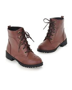 Brown Lace Up Winter Ankle Boot