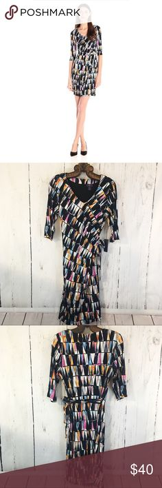 NYDJ Daniella Jersey Faux Wrap Dress Amazing NYDJ Slimming Dress In Sunset Sails Print With Built In Shape Wear. NWT! No Flaws.  Size 14 • Armpit To Armpit 20 Inches • Shoulder To Hem 43 Inches NYDJ Dresses