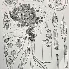 #stonerstration #stonerart #stoned #tokeup #pizza #paraphernalia #smoke #weed #weed #weed #pot #potsmoker #doobie #redeyes #cleareyes #onehit #fire #bud #illustration #smokintokin #rollingpapers