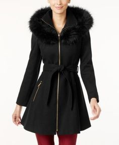 Laundry by Shelli Segal Faux-Fur-Trim Skirted Swing Coat | macys.com