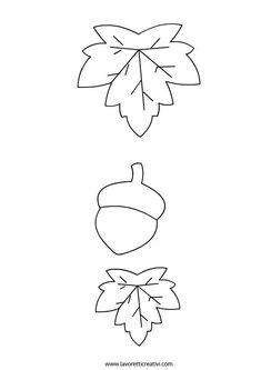 Leaf and Acorn Template Harvest Crafts For Kids, Autumn Crafts, Fall Crafts For Kids, Felt Crafts, Diy And Crafts, Arts And Crafts, Paper Crafts, Felt Patterns, Applique Patterns