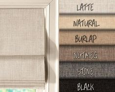 *PLEASE SEE BELOW ON HOW TO PURCHASE* Custom made linen look flat roman shades - made to order, including all hardware for installation and blackout lining (unless otherwise requested), up to 60 wide. For fabric samples: Farmhouse Window Treatments, Window Treatments Living Room, Living Room Windows, Modern Window Treatments, Modern Window Coverings, Living Room Blinds, Bedroom Blinds, Roman Blinds, Curtains With Blinds
