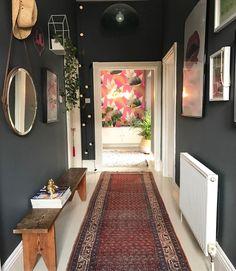Rug by lisa dawson dark grey hallway, dark gray bedroom, dark grey walls, h Dark Grey Hallway, Dark Grey Walls, Modern Hallway, Dark Grey Rooms, Hallway Colours, Hallway Rug, Front Hallway, Hallway Ideas Entrance Narrow, Upstairs Hallway