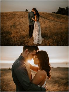 Engagement photos at golden hour with a long white dress blackie spit park bc 37 romantic and sweet engagement photo ideas to copy Engagement Announcement Photos, Country Engagement Pictures, Outdoor Engagement Photos, Engagement Photo Outfits, Engagement Photo Inspiration, Engagement Session, Engagement Photography, Winter Engagement, Field Engagement Photos