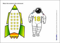Here's a set of rocket and astronaut number matching cards from 1-20.