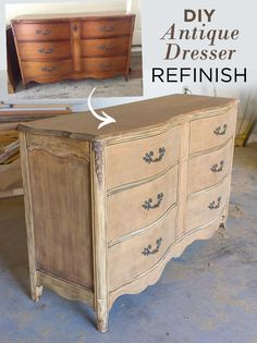 How to strip and sand a stained and varnished vintage dresser to a natural wood finish