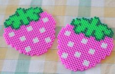 Strawberries coasters hama perler beads