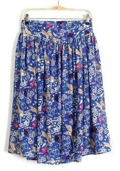 Blue Flowers Zipper High Waist Velvet Skirt