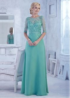 Chiffon A-line Gown Full Length Dress with Beaded Appliques
