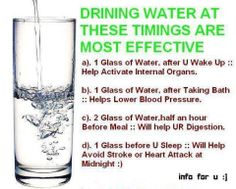Drinking water at these times are most effective