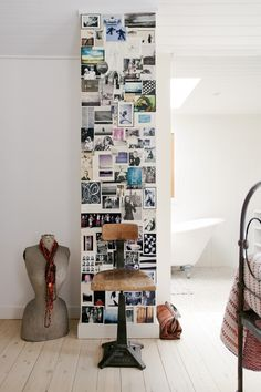 """A column becomes a photo wall for Nikki's postcard collection. """"I treasure them and love to have them on..."""